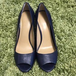 Ann Taylor blue leather open toe pumps- sz 7